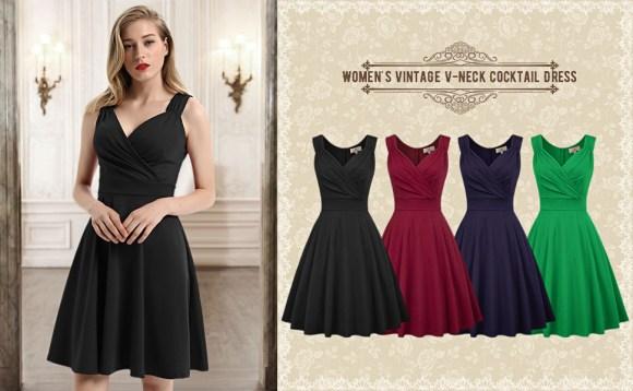 1950s rockabilly women a-line dress summer sleeveless knee length swing high tea dress