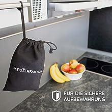 Stoffbeutel und Kappe für maximale Sicherheit beim Reinigen des Induktionsherd praktisch aufgeräumt