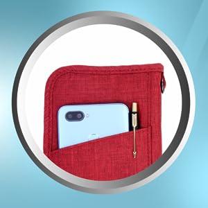 JEI Travel Passport Wallet منظم المستندات سحاب مقاوم للماء حزام قابل للإزالة
