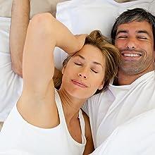 Couple enjoying a good nights sleep with Sleeping aid pills sleep supplement