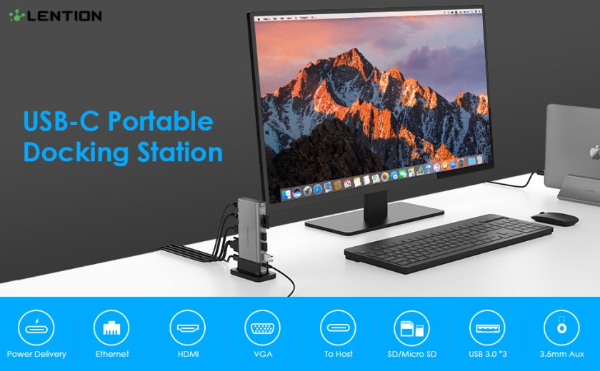 10 in 1 Long Cable USB C Docking Station