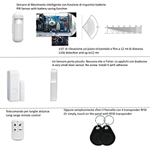 Sensori Allarme Wifi, Telecomando long range, RFID