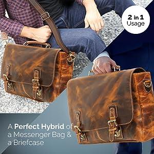 leather laptop bag crossbody messenger satchel office business