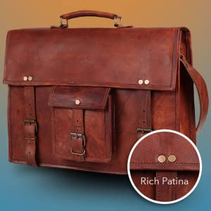 handcrafted genuine leather satchel messenger bag carry on travel shoulder bag briefcase men women