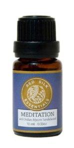 meditation essential oil, sandalwood, oil for meditation, meditate, red silk essentials meditation