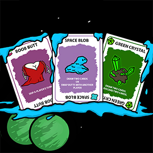 Action cards such as the boob butt, green crystal, and space blob in space by green planets