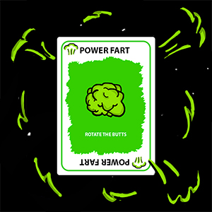 A power fart card power farting in space