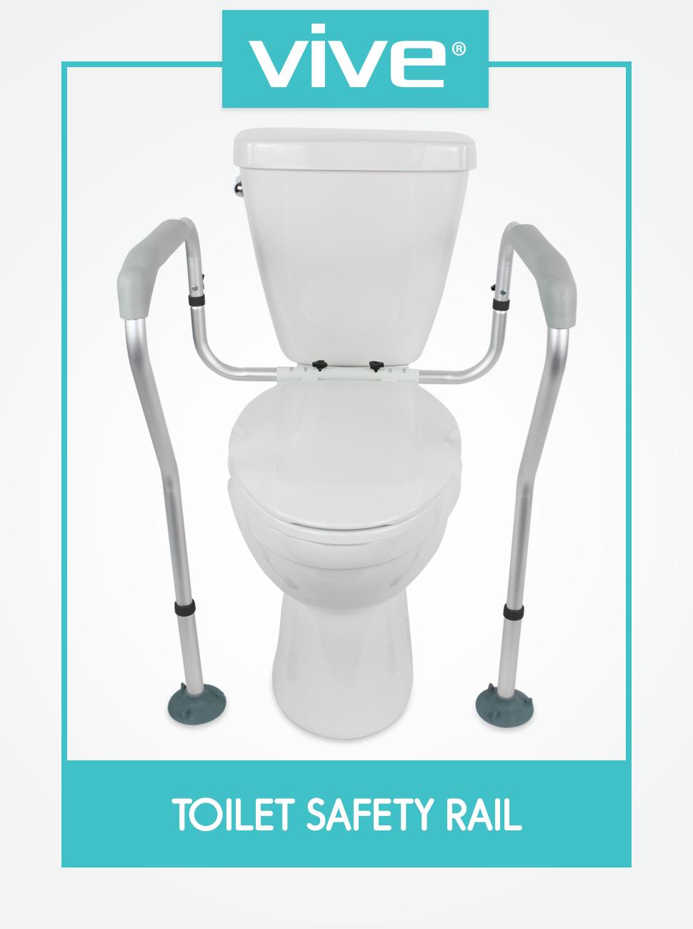 Vive Toilet Rail - Bathroom Safety Frame - Medical Railing Helper for Elderly, Handicap, Disable