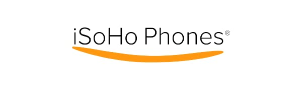 """The words """"iSoHo Phones"""" underlined with a slightly curved orange line."""