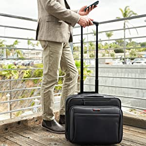 rolling briefcase business portfolio with wheels laptop travel case overnight bag