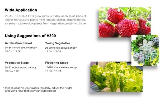 wide application of v300 300w led grow light