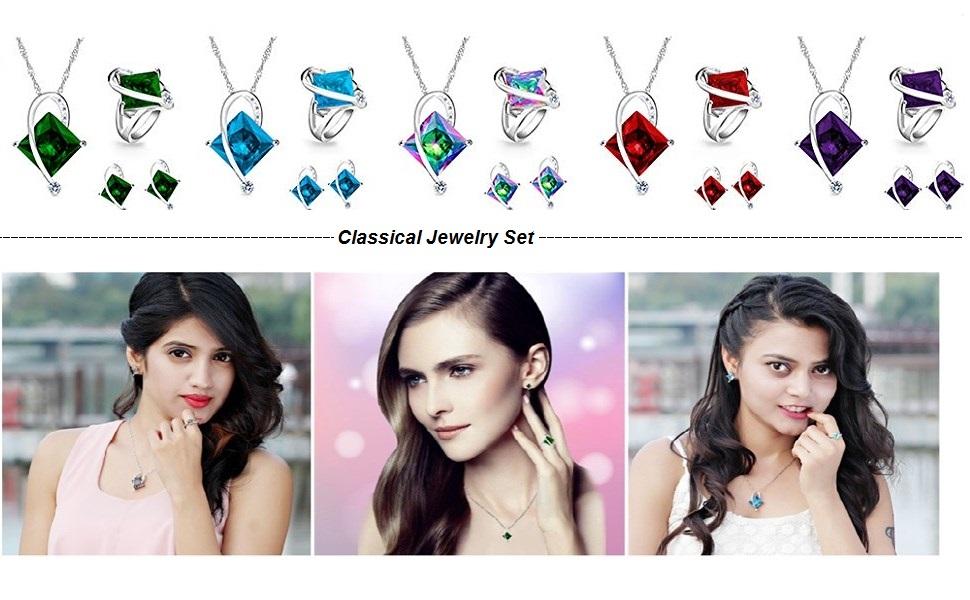 crystal jewelry set,crystal jewelry set swarovski,crystal jewelry set for women,square necklace set