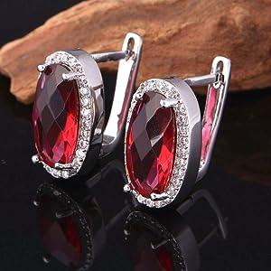 women earrings red stone,clip on earrings