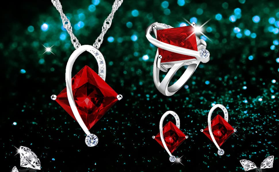 big square princess crystal cubic zirconia CZ necklace earrings solitaire ring wedding jewelry set