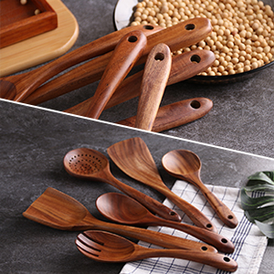 Natural Take Wood Kitchen Utensils Set - Nonstick Hard Wooden Spatula