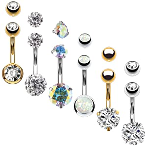 GOLD AND SILVER BELLY RINGS