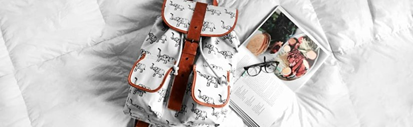 coffee reading glasses elephant leather canvas backpack retro style
