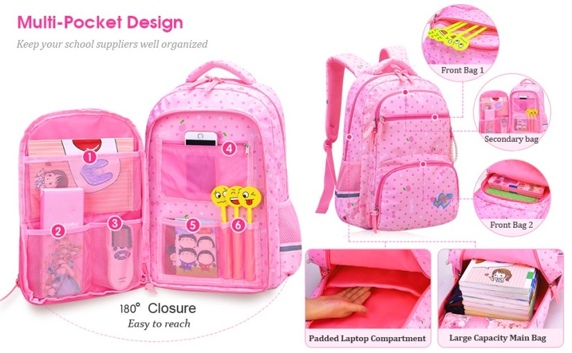 Girl's Backpack for Middle School Cute Bookbag Outdoor Daypack