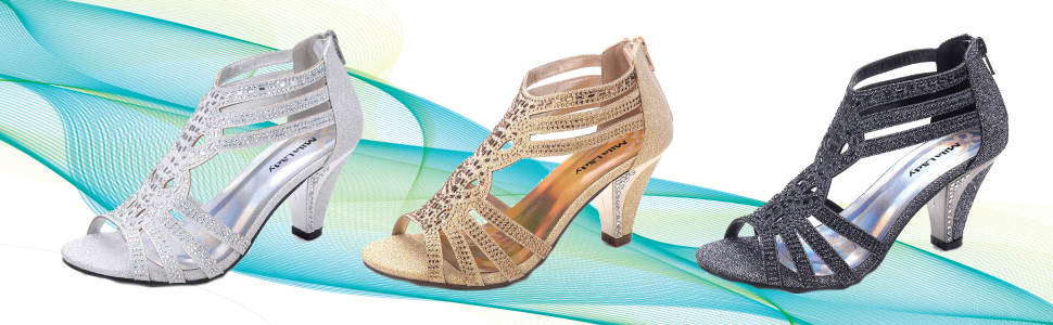 sparkly mid heel sandals dress shoes for women wedding party