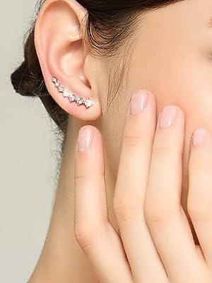 Sterling Silver Women Earrings Hypoallergenic Crystals Ear Cuffs