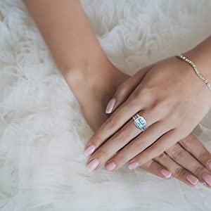 bridal wedding ring band set