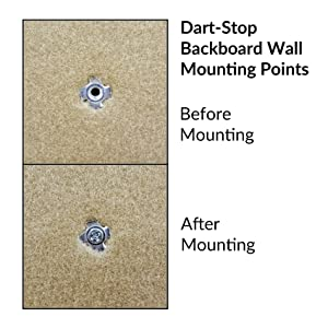 Dart-Stop backboard wall mounting points, before and after mounting