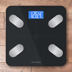 Bluetooth Digital Body Fat Scale by Weight Gurus, 2018, Secure Connected Solution for your Data