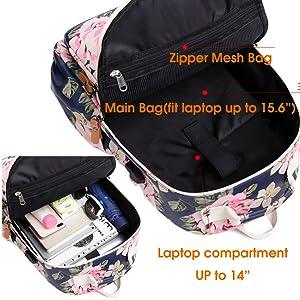 Floral School Backpack for Girls Travel Bag Bookbags for Women Satchel