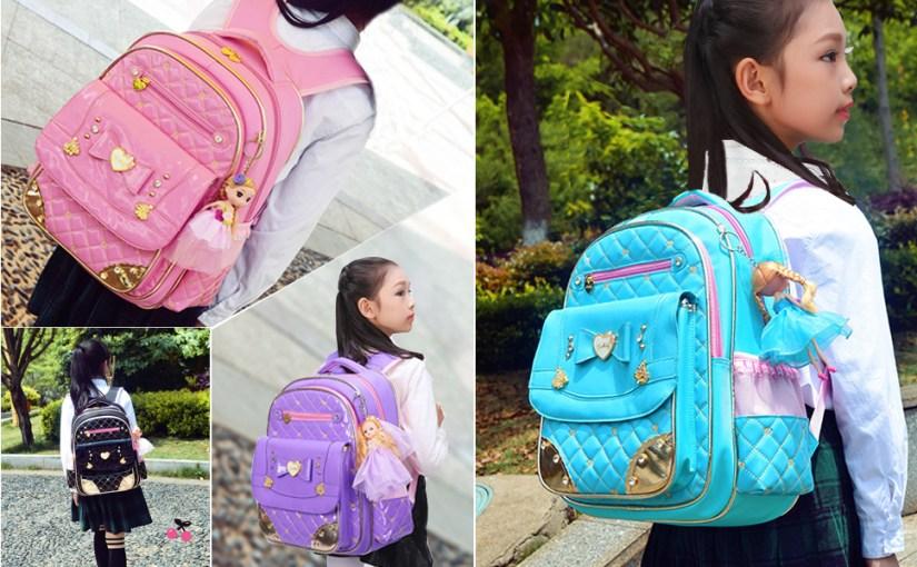 Girls Backpacks for Kids Elementary School Bags with Frozen Snow Print for Kindergarten Girly