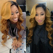 Ombre Brazilian Hair Body Wave 3 Bundles with Closure Honey Blonde Ombre Bundles with Lace Closure