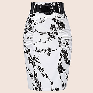 Women's Stretchy Pencil Skirt Side Pleated Business Skirts with Belt KK271(21 Color)