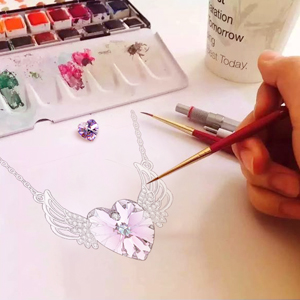 design drawing of angel necklace