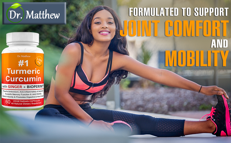 Dr Matthew #1 Turmeric Curcumin with Ginger for Joint Mobility and Comfort