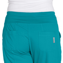 Close-up of back pockets with logo detail on the Barco Grey's Anatomy Active Womens Yoga Scrub Pant