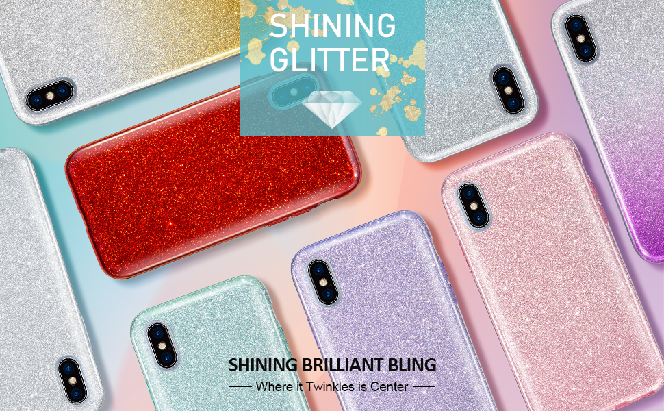 MATEPROX iPhone Xs Max Case for Girls Fashion Cute Crystal Clear Glitter
