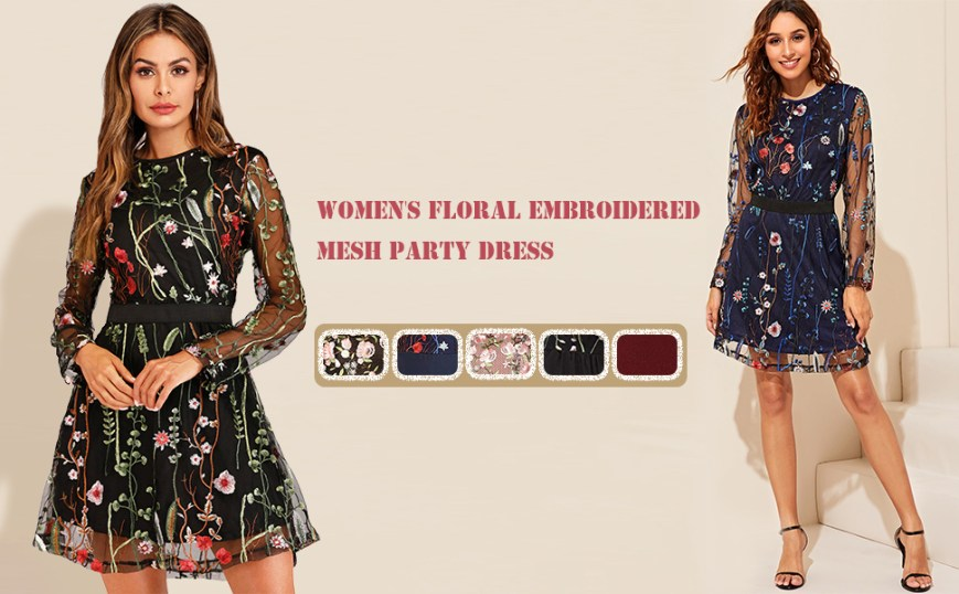 Milumia Women's Floral Embroidered Party Dress