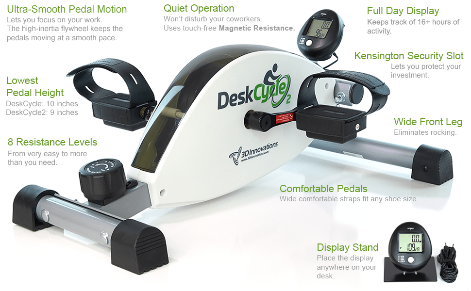 List of Desk Cycle features. Includes smooth pedal motion, quiet operation and more.