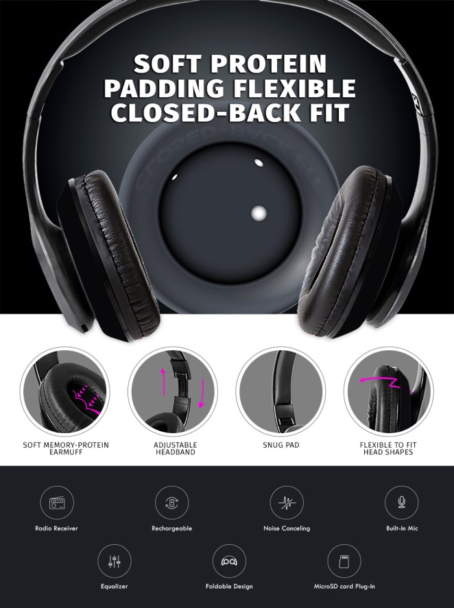 foldable over ear headphones built in fm mic wireless technology headsets with bluetooth 4.1
