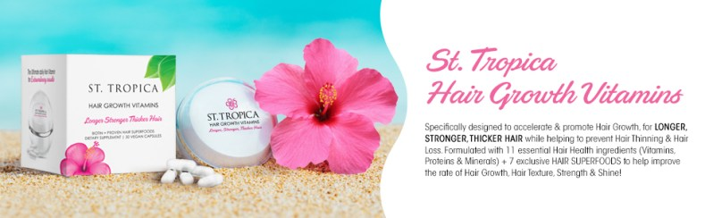 Close up shot of St. Tropica hair growth vitamins for thinning hair. Best hair vitamin for hair fall