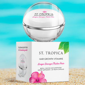 Grow hair fast with natural hair vitamins by St. Tropica. Take 1 daily and watch your hair grow fast