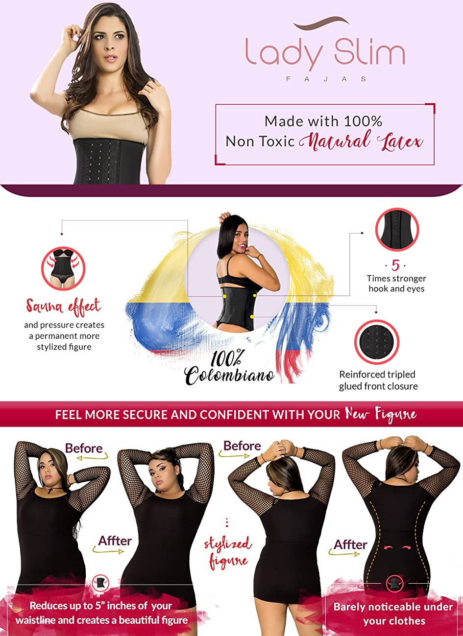 Lady Slim Fajas Colombianas Reductoras Y Moldeadoras para Mujer Latex Waist Trainer Cincher Shaper for Women 8
