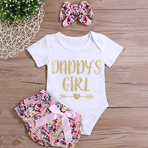 Infant Baby Girl Clothes Daddy's Girl Letter Print Romper Floral Bloomers with Headband 3PCs Toddler