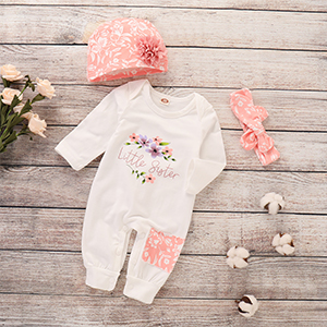 Baby Girl Clothes Little Sister Newborn Outfit Print Long Sleeve Romper + Hat + Headband Set 3Pc