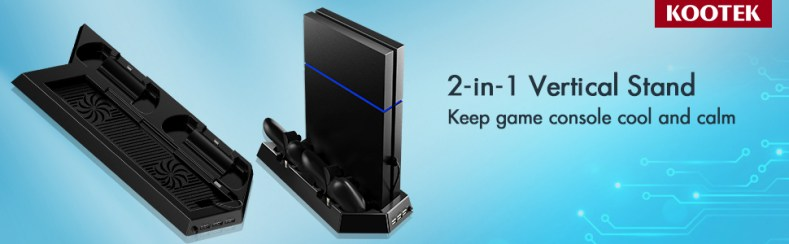 Vertical Stand with Cooling Fan for PS4 Slim / Regular PlayStation 4, Controllers Charging Station