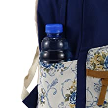 2 side pockets can carry a water bottle and an umbrella