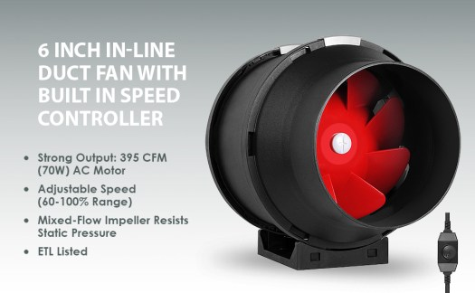 6 Inch Inline Fan With Speed Controller For Exhaust and Intake Blower Ventilation In-line
