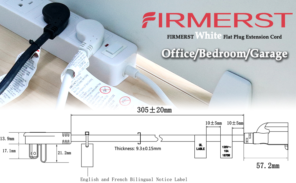 FIRMERST White Flat Plug Extension Cord