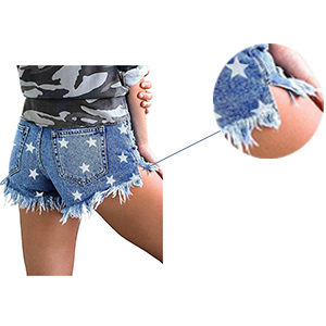 MODARANI Denim Shorts for Women Mid Rise Jeans Ripped Frayed Raw Hem Hot Short Pants Comfy Stretchy