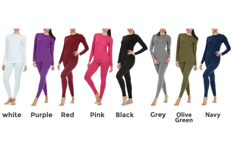 Womens thermal underwear set is available in white, purple, pink, red, grey and many colors