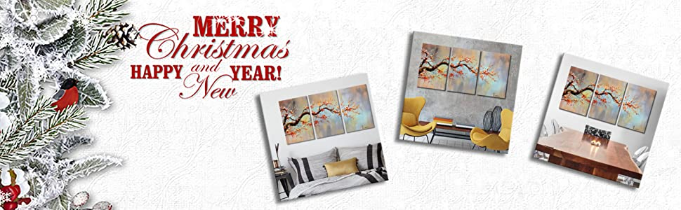 Artland Modern Hand-Painted 3 Piece Canvas Wrapped Art